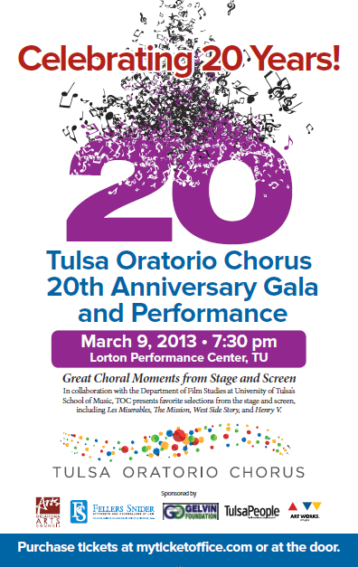 20th Aniversary Concert and Gala with Tulsa Oratorio Chorus – Great Moments in Film and Stage