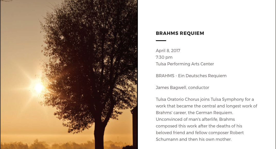 See Tulsa Oratorio Chorus Perform Brahm's Requiem with Tulsa Symphony on April 8