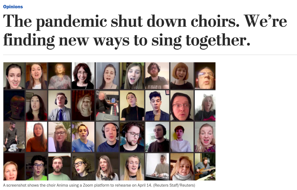 Tim Sharp: The pandemic shut down choirs. We're finding new ways to sing together.